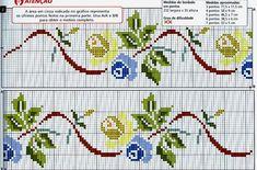 Flower Borders - Majida Awashreh - Álbuns da web do Picasa Cross Stitch Fruit, Cross Stitch Borders, Cross Stitch Rose, Cross Stitch Flowers, Cross Stitch Designs, Cross Stitching, Cross Stitch Patterns, Rose Embroidery, Cross Stitch Embroidery