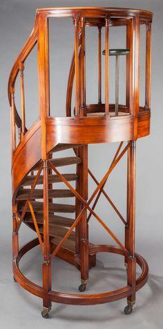 Furniture : English, AN EDWARDIAN MAHOGANY CIRCULAR STAIRCASE. Circa 1905.  106 Incheshigh X