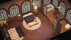 Continued House Tour - bedroom with en suite! Animal Crossing Funny, Animal Crossing Guide, Animal Crossing Qr Codes Clothes, Animal Crossing Pocket Camp, Animal Games, My Animal, Video Game Bedroom, Ac New Leaf, Happy Home Designer