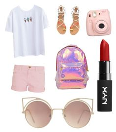 """Holographic love"" by ay0ava on Polyvore featuring Current/Elliott, Miss Selfridge, Fujifilm and MANGO"