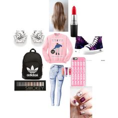 Hotline bling by isabellacastro19 on Polyvore featuring beauty, Forever 21, MAC Cosmetics, Maybelline, Casetify, adidas Originals and Santa Balls