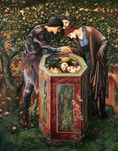 """""""The Baleful Head"""" - Illustration from William Morris' 'The Earthly Paradise' by Sir Edward Burne-Jones x 155 cm oil on canvas; displayed at Staatsgalerie, Stuttgart) Pre Raphaelite Paintings, Pre Raphaelite Brotherhood, Edward Burne Jones, Les Fables, Art Gallery, John Everett Millais, Famous Art, William Morris, Our Lady"""