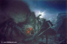 Ungoliant demanding that Melkor feed her the simaril, Morgoth refusing to give it to her