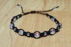 Adjustable Black Hemp Anklet Bracelet - Iridescent Clear Faceted Glass Beads - Square Knot - Girl Child Kid Women Teen on Etsy, $12.00