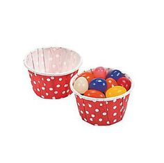 "Red Polka Dot Snack Cups 1.5"""" x 2.25in 