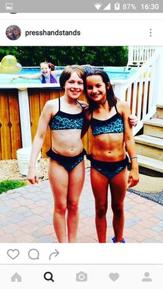Annie matching with Peanut!! I just realized I USED TO HAVE THIS BIKINI!! But it broke at Disney World when I was 9!!