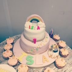 Unicorn rainbow cake girl birthday pink and white Girl Cakes, Girl Birthday, Unicorn, Rainbow, Desserts, Pink, Food, Rain Bow, Tailgate Desserts