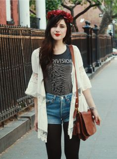 Unknown Pleasures {black tights+high wasted shorts+band tshirt+white cardigan+red hand band}