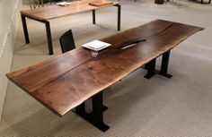 walnut reverse matched slab dining table #UrbanHardwoods #SalvagedWood