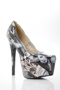Women's Fashion High Heels :    These heels feature a one of a kind print with a collage of pictures, padded insole, almond toe point, and hidden pump. Gotta love a little fierce pair of heels to go with any club dresses.  Purchase yours today at www.cicihot.com #stylish #cute #fun... - #HighHeels https://youfashion.net/shoes/high-heels/trendy-womens-high-heels-these-heels-feature-a-one-of-a-kind-print-with-a-collage-of-pictures-padded-ins/