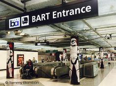 #STORMTROOPERS SECURE BART ENTRANCE  #starwars #advertising campaign at #BART stations #sanfrancisco #california  www.tombombon.com by tbombon