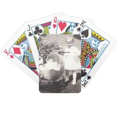 Vintage Photograph Little Girl w Baby Buggy Bicycle Playing Cards - photo gifts cyo photos personalize