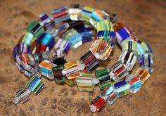 #beads You can make this bracelet in only 5 minutes!  Find them here: http://happymangobeads.com/cane-glass-beads-assortment-lw1440/