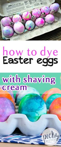 Don't miss this fantastic way to dye your Easter eggs! We used shaving cream to get these cool marbled eggs! Shaving Cream Easter eggs look like designer eggs. No more one color boring eggs. Shaving Cream Easter Eggs, Easter Egg Dye, Coloring Easter Eggs, Hoppy Easter, Easter Party, Egg Coloring, Easter 2018, Easter Food, Holiday Activities For Kids