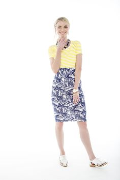 Ever so cute striped yellow top worn with a printed tube skirt. Tube Skirt, Nautical Fashion, Yellow Top, Shoe Shop, Art Direction, Fashion Online, Stylists, Fashion Accessories, Plus Size