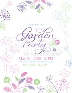 wildflowers spring flowers garden party invitation horizontal