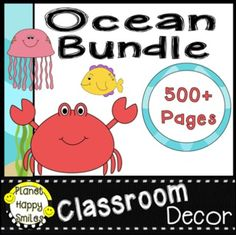 """SAVE TIME & MONEY with this Editable """"Under the Sea"""" ~ Ocean Theme Classroom Decor Bundle. It will help you be an organized teacher, help with classroom management, and create a positive environment. Planet Happy Smiles Classroom Decor Bundles make starting your year off a BREEZE especially if you are on a budget! Jam Packed with 500+ pages, so many resources!"""