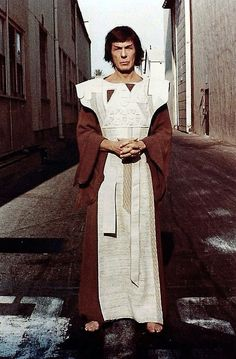 Spock in his Kolinahr robes on the backlot of Paramount Pictures while filming…