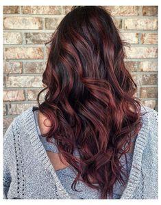 Cherry Brown Hair, Light Brown Hair, Brown Hair With Burgundy, Brown Hair With Ombre, Red Burgundy Hair Color, Pretty Brown Hair, Red Ombre Hair, Violet Hair, Dark Hair