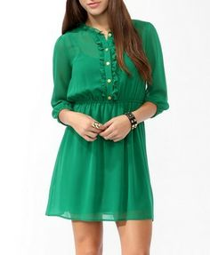 Forever 21 Ruffled Buttoned Shirtdress
