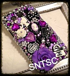 BEAUIFTUL PURPLE BLING CELL PHONE CASE