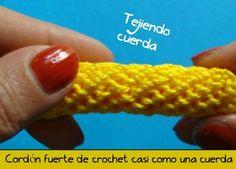 "Start to crochet - knitting Video Lesson number 135 - ""Full Cord"" Crochet Borders, Crochet Stitches Patterns, Crochet Motif, Crochet Cord, Crochet Basket Pattern, Amigurumi Tutorial, Knitting Videos, Knitted Bags, Galaxy"