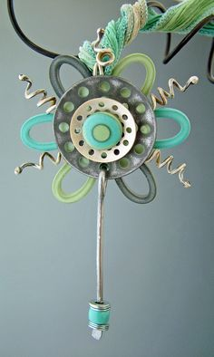 "** ""Spring Fling"" Handmade  Pendant Silk, Clay, Wire, Hardware  @juliepicarello"