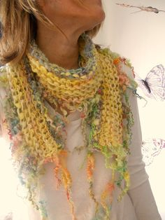 soft and light handknit scarf of curls  soft by beautifulplace, $67.00