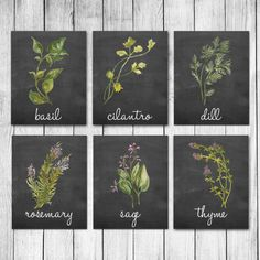 Watercolor Herb Chalkboard Kitchen Decor Wall Art Print Set of 6 Digital Art Prints This is a set of 6 Prints You will receive one each of the