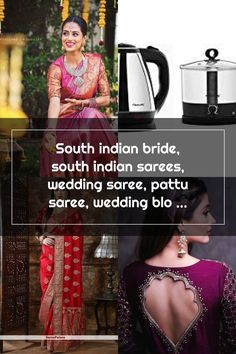 South indian bride, south indian sarees, wedding saree, pattu saree, wedding blouse South Indian Sarees, South Indian Bride, Wedding Sarees, Blouse, Blouses, Woman Shirt, Hoodie, Top, Bridal Sari