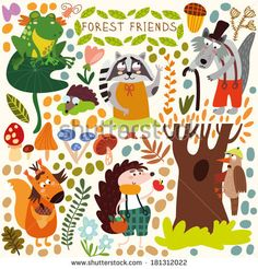 Vector Set of Cute Woodland and Forest Animals Poster Squirrel frog woodpecker hedgehog wolf raccoon butterfly Poster(All objects are isolated groups so you can move and separate them) Poster. Cute Animal Illustration, Cute Animal Drawings, Animal Sketches, Animal Decor, Animal Crafts, Forest Animals, Woodland Animals, Cute Raccoon, Cute Animal Videos