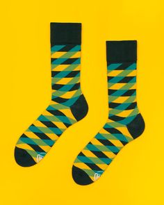 Illusion Green Socks  mens socks  womens socks  by ManyMornings