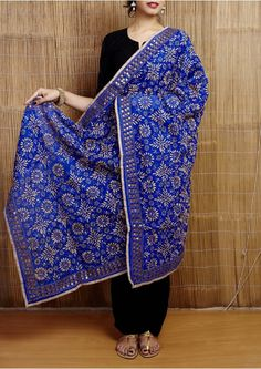 Blue Phulkari Embroidered Handloom Cotton Dupatta