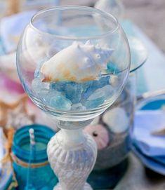 DIY Centerpieces for a Beach Bridal Shower or Wedding.