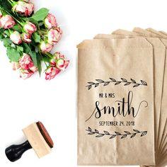Rustic Favor Bag Stamp - Mr and Mrs Stamp For Favor Bags - Laurel Wreath Wedding Favor - Candy Bags Custom Stamp - Wedding Favor Tag by SouthernPaperAndInk on Etsy