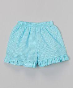 Look at this #zulilyfind! Aqua Polka Dot Ruffle Shorts - Infant, Toddler & Girls #zulilyfinds