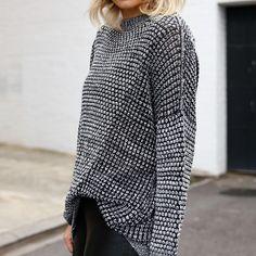 """Knit tucks with @casa_kuma ... coming soon ✌️ x #casakuma #babesinbasics #twotoneknit #knitperfection #jbrand #leather #celine #blonde #blogger x"""