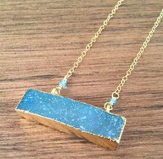 Druzy, blue druzy neckace, druzy bar necklace, gold druzy necklace by…