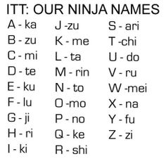 ninja name! fun
