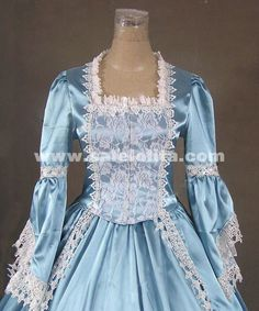 2016 Noble Light Blue Long Sleeve Lace Renaissance Civil War Gothic Victorian Ball Gowns For Party
