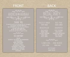 Items Similar To Wedding Program Reception Thank You Printable Template Country Chic 4054 On Etsy
