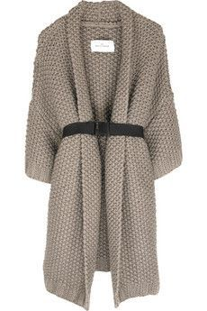 Taupe wool chunky knit long cardigan with contrast elasticated belt. By Malene Birger cardigan has an open front, three-quarter length sleeves, side seam pockets and simply slips on. Knit Fashion, Look Fashion, Autumn Fashion, Knit Jacket, Knit Cardigan, Long Cardigan, Fashion Mode, Fashion Trends, Putting Outfits Together