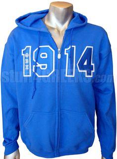 PHI BETA SIGMA 1914 FULL-ZIP HOODIE SWEATSHIRT WITH LETTERS  Item Id: PRE-SWFZ-FBS-1914LTR    Price: $59.00