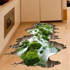 Aliciashouse 3D Stream Boden Dekor Wand Aufkleber abnehmbare Wandbild Aufkleber Vinyl Kunst Home Dekoration