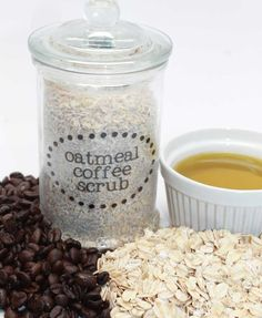 Oats Coffee Scrub in Jar with Clear Label