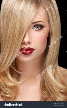 Closeup Female Portrait Beautiful Face Curly Stock Photo 120837223 ...