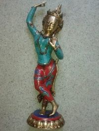 Dancing Tara , Brass , adorned with Coral Stones, 20 inches,Nepalese work