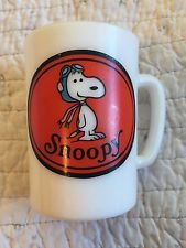 Vintage Avon Snoopy Mug 1969 White Milk Glass Red Baron With Tag On Bottom