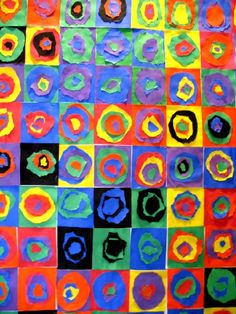 Kandinsky circle cutting. Draw a small, medium, and large circle. Cutting and gluing skills