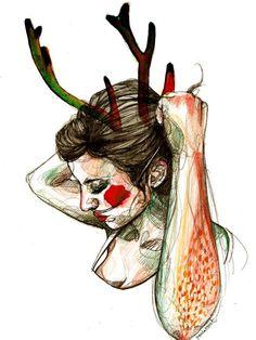 Lámina Paula Bonet - Otoño Portrait Illustration, Illustration Girl, Paula Bonet, Portrait Art, Portraits, Drawing Sketches, Drawings, Traditional Art, Mixed Media Art